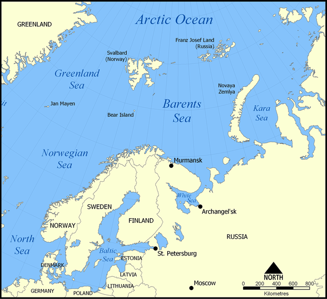 Location of the Barents Sea