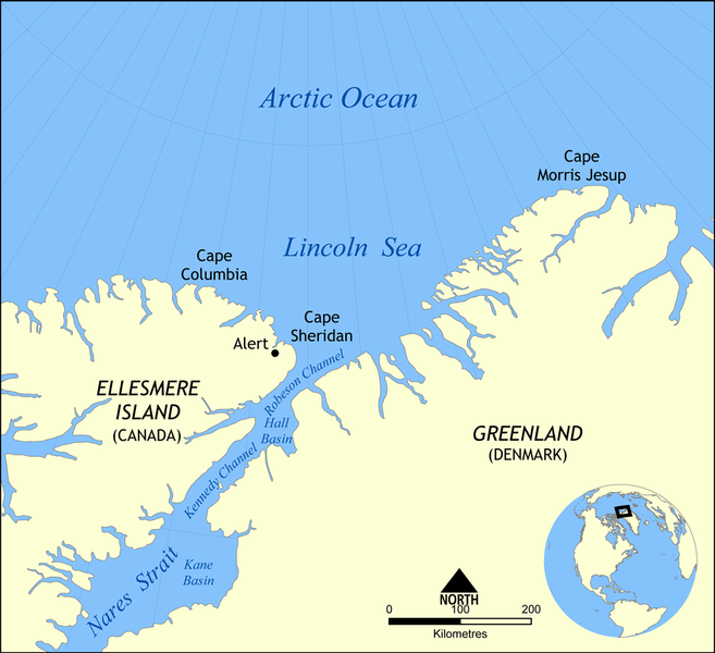 Map of the Lincoln Sea