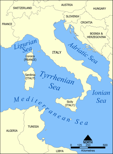 Tyrrhenian Sea - a sea in Atlantic Ocean